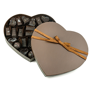 Amore Assortment: Brown Gift Heart, Vegan Chocolates