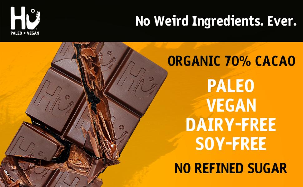 hu chocolate bar paleo vegan dairy free soy cacao no refined sugar dark simple keto variety human