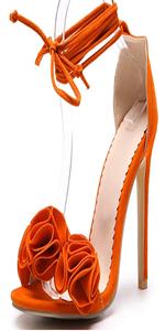 stiletto high heels sandals floral strappy