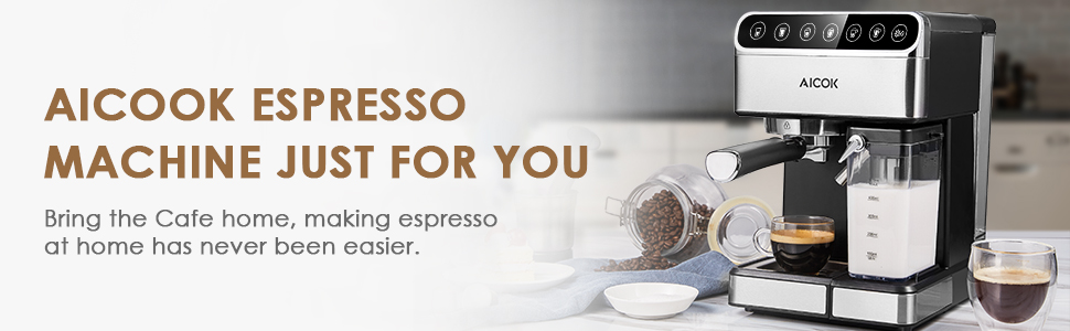 Amazon.com: AICOOK Máquina de café espresso, Barista ...