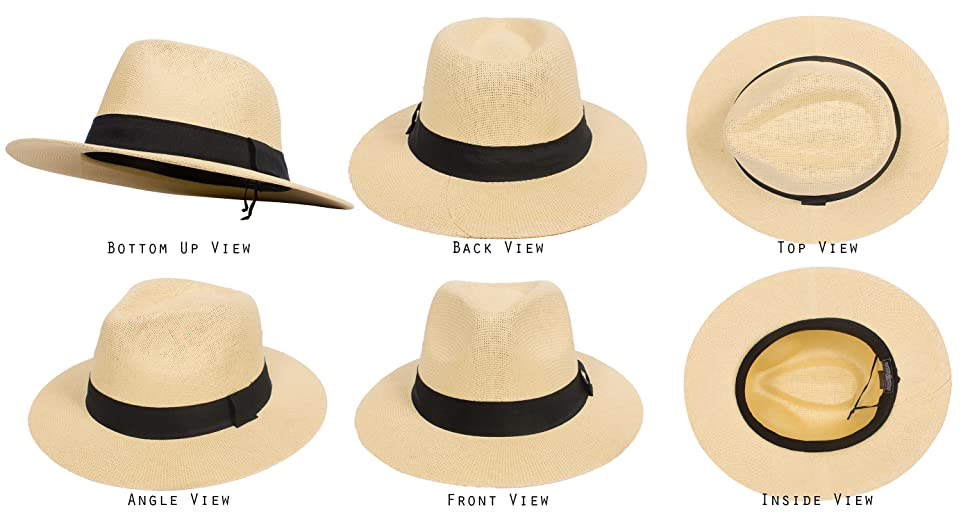 DRY77 Cool Straw Panama Hat Wide Large Flat Brim Fedora Outback Men ... 36e7d48bddfc