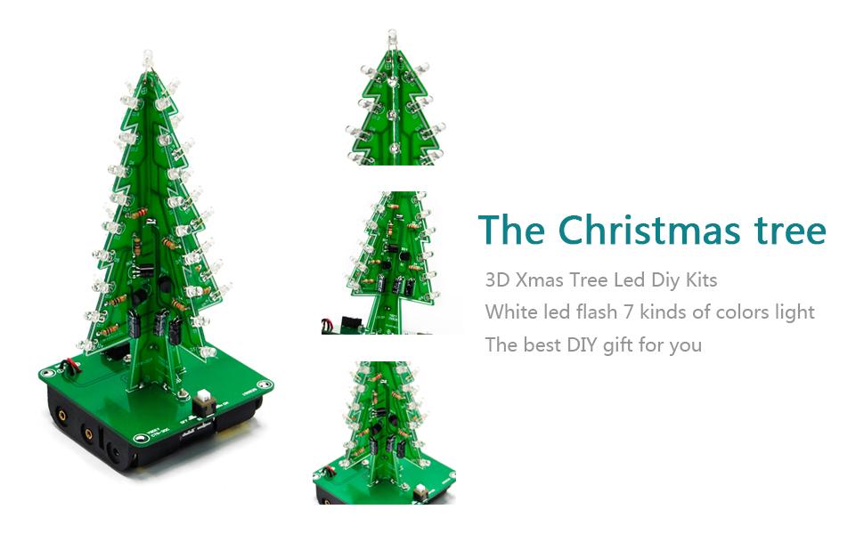 Amazon.com: Gikfun 3D Xmas Tree Led DIY Kits 7 Color Flash Circuit ...