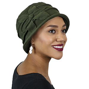 a648307cd880f Olive warm fleece hat for women with hair loss. Burgundy red fleece cloche  hat for women with large head ...