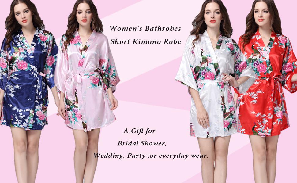 Admireme Women s Kimono Robe Satin Peacock Bathrobe Short Silk Bridal Robe  Wedding Party Getting Ready Robe 5c64b4814