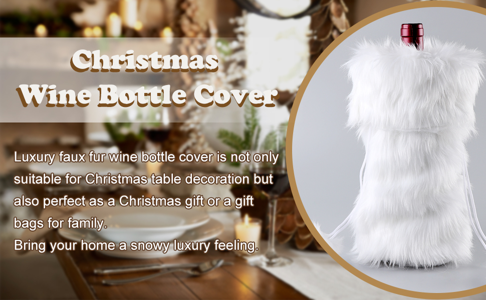 Amazon.com  AerWo Faux Fur Wine Bottle Bag, White Christmas Wine ... 821ccf02c7