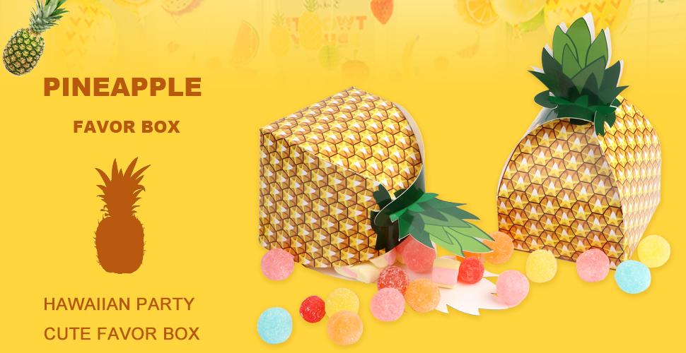 Amazon.com: aerwo 48pcs piña favores cajas 3d grande piña ...