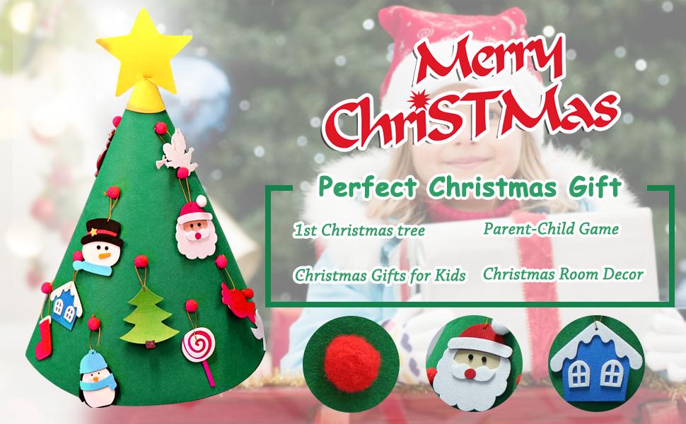 Amazon.com: AerWo 3D DIY Felt Christmas Tree, Upgraded Toddler ...
