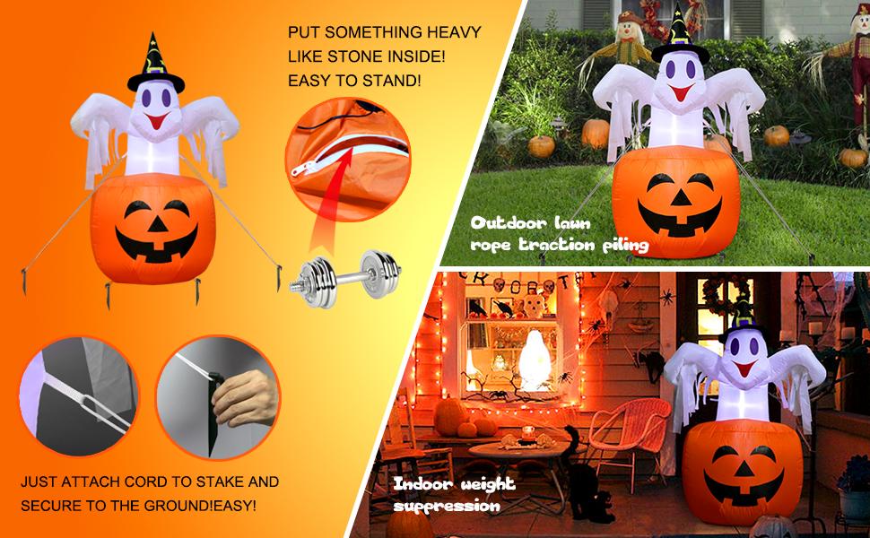 AerWo Halloween Blow in Inflatable Pumpkin