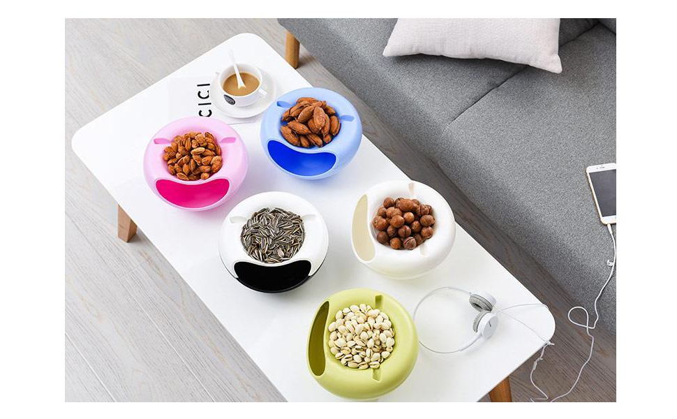 Snack Bowl, Double Dish Nut Bowl with Cellphone Holder Slot, Serving for Pistachio, Sunflower Seeds