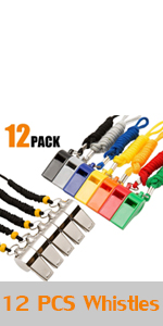 2 Packs Plastic Sports Whistles with Lanyard, Loud Crisp Sound Whistle Ideal for Coaches, Referees