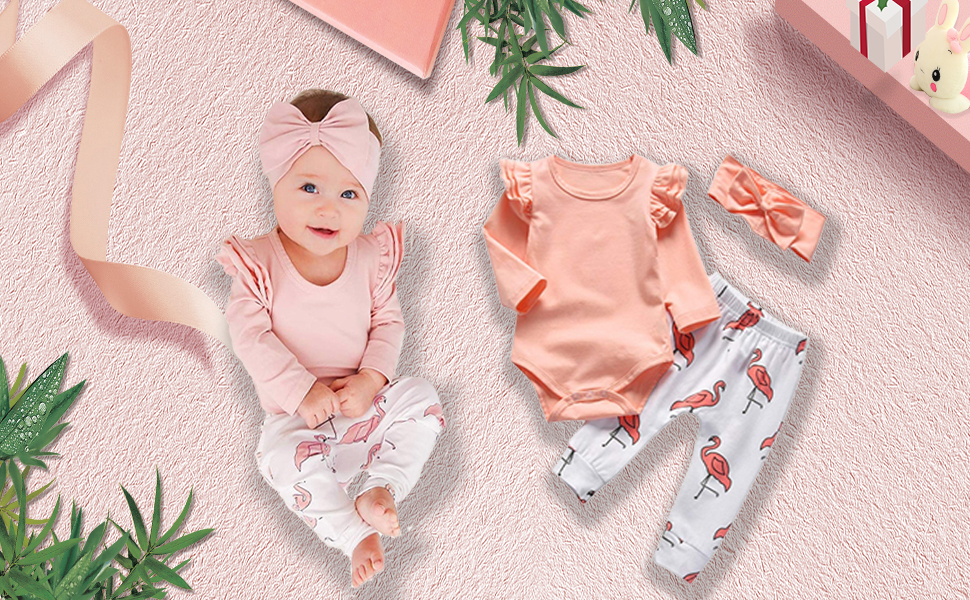 f49b6d9b49418 Baby Girl Clothes Pink Ruffle Sleeve Bodysuit Infant Romper Flamingo Pants  with Headband 3Pcs Outfit