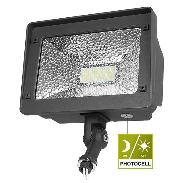 50w Led Flood With Photocell: Cinoton LED Flood Light, Dusk-to-Dawn Photocell, 180