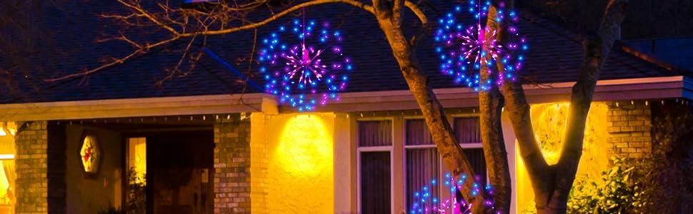 1 Metro Starburst Luz 160 Leds blancos interior al aire libre de Decoración de Navidad