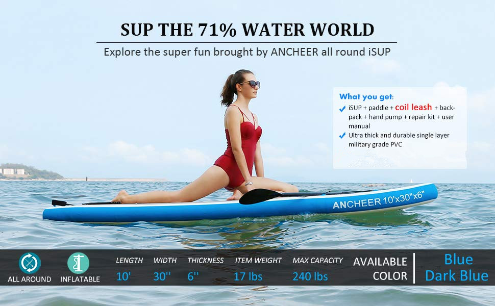 ANCHEER Inflatable Stand Up Paddle Board 10 with Non-Slip Deck, iSUP Boards w/Complete KIT, Adjustable Paddle, Leash, Fin, Hand Pump and ...