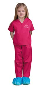 kids scrubs, doctor costume, scrubs for kids, big sister outfit