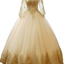 372033e6e BessDress Gold Lace Appplique Quinceanera Dresses Long Sleeves Prom ...