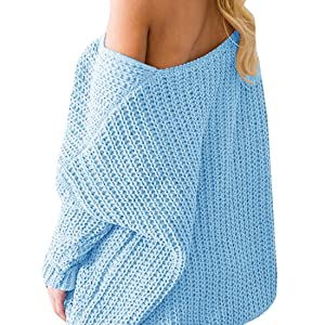 d46b8c9a7 Womens Sweaters Oversized V Neck Long Sleeve Off The Shoulder Cable ...