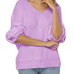 569187538 Womens Sweaters Oversized V Neck Off Shoulder Long Sleeve Cable Knit ...