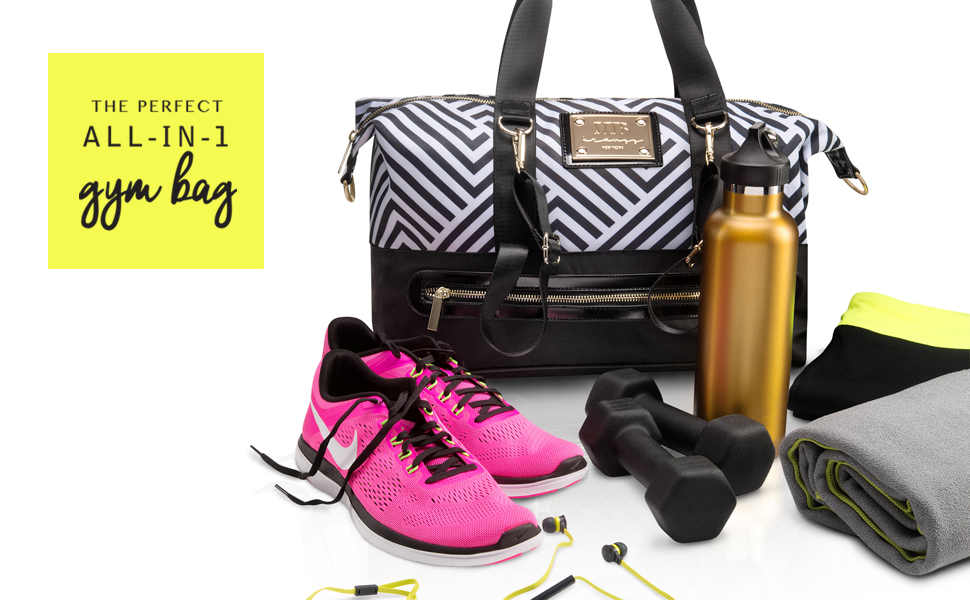 810b89893aee the perfect all in one gym bag shown with sneakers water bottle and  dumbbells