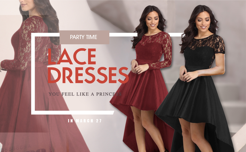 Amazon.com: Bdcoco Women's Vintage Lace Short Sleeve High