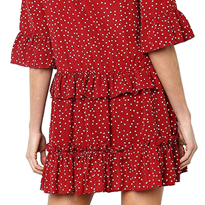 830be00b3b7 onlypuff Ruffle Polka Dot Dresses for Women Swing Tunic Tops Casual Loose  Fitting V Neck