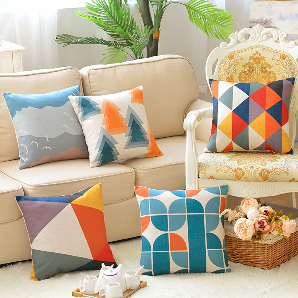 Sykting throw pillow covers 18 x 18 square pillow cases set of 5 couch pillow cases geometric series cotton linen