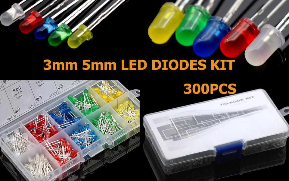 300pcs 3mm 5mm LED Round Bright Light Diodes Emitting Lamp Assortment Kits Ъ