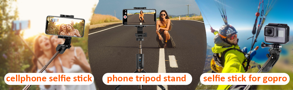 selfie stick for cellphone & action camera
