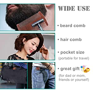 multifunction: beard comb for father gift,and hair comb for mother gift. Pocket size comb for travel