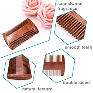 beard comb with smooth teeth and natural fragrance