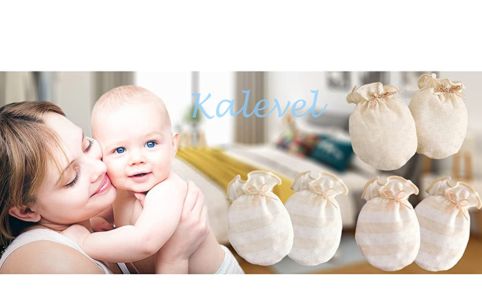 Newborn Mitten No Scratch Baby Mittens with Anti Falling Strap Organic Cotton Mitts Gloves for Infant 0-6 Month