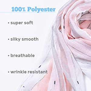 premium wrap scarfs are super soft, smooth, breathable and wrinkle resistant