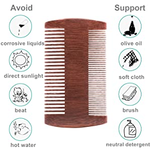 Maintaince of wooden comb