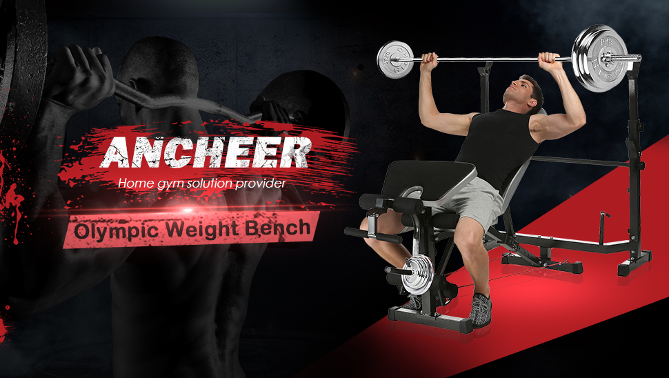 ANCHEER Multi-Function Olympic Weight Bench Adjustable with Leg Curl