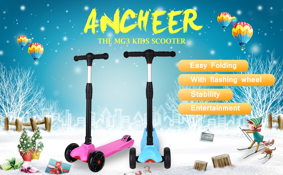 Amazon.com: Ancheer New Foldable Kids Scooter Adjustable ...