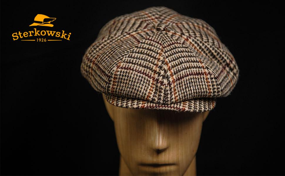 Newsboy Hat Gatsby Cap Flat Tweed herringbone Baker Boy Peaky Blinders Trapper
