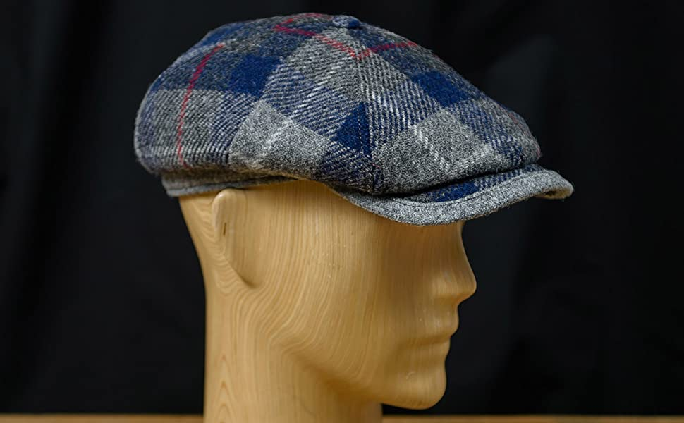 Harris Tweed Mens Flat Cap Classic 4 Panel Applejack Newsboy Cap with Lining Sterkowski Rambler