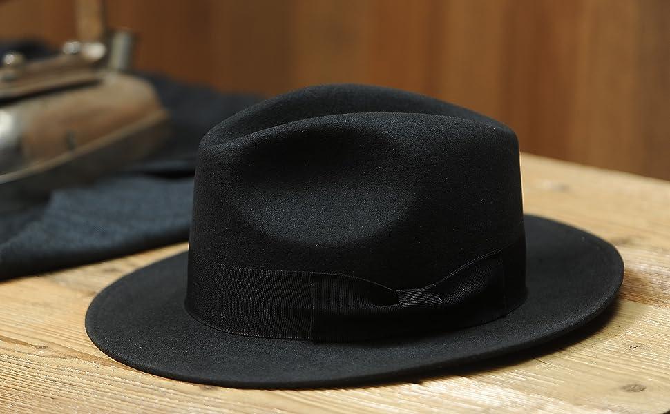 11ab02c1ff7cd Sterkowski Rabbit Fur Felt Classic Vintage Fedora Hat at Amazon ...