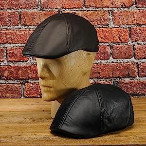 Sterkowski Genuine Leather 6 Panel Classic Duckbill Flat Cap at ... a75e71eba95