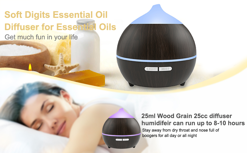 soft digits essential oil diffuser cool mist humidifier help you relieve tiredness enhance your mood color your life