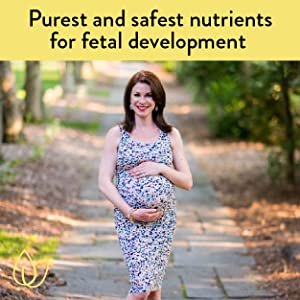 Beautiful pregnant mother with the words, Purest and safest nutrients for fetal development