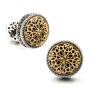 and red gold Bronze cufflinks with bronze blue