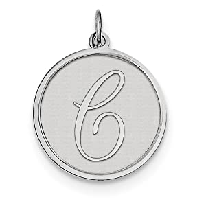 27mm x 20mm Solid 925 Sterling Silver Brocaded Initial Letter A Alphabet Charm Pendant
