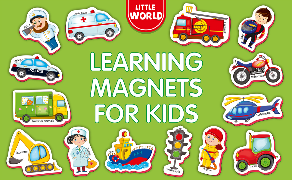 refrigerator magnets for toddlers kids vehicles and professions 34