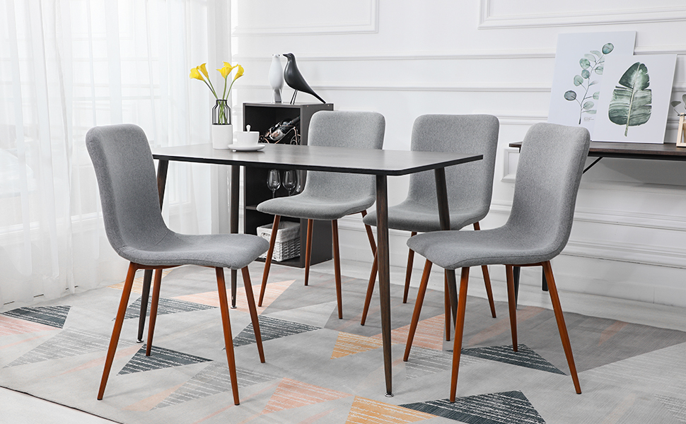 4 Mid Century Style Dining Chairs with Fabric Cushion By Coavas