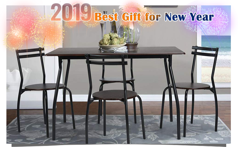 Amazon Com Coavas 5pcs Dining Table Set Kitchen Rectangle Dining Table With 4 Round Dining Chair Dinning Set Table Chair Sets