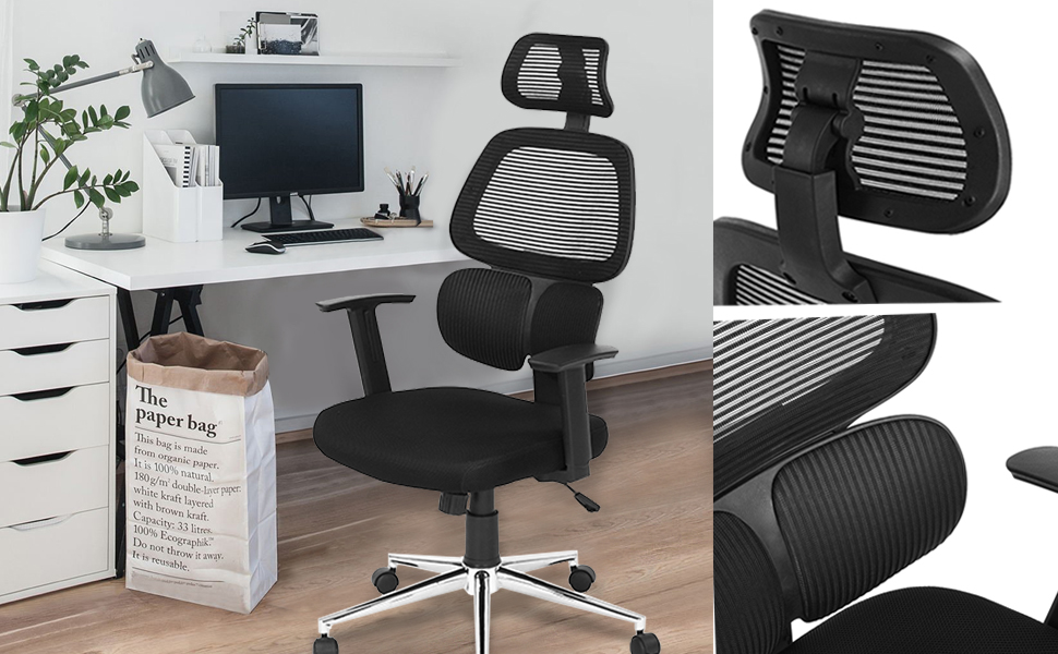 Product Information For High Back Ergonomic Mesh Office Chair With  Adjustable Lumbar Support, Backrest, Headrest, Armrest And Seat Height:  Color: Black