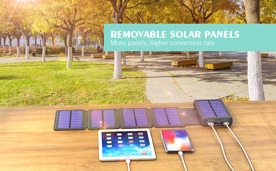 solar powered phone charger 20000mah portable power bank dual usb output