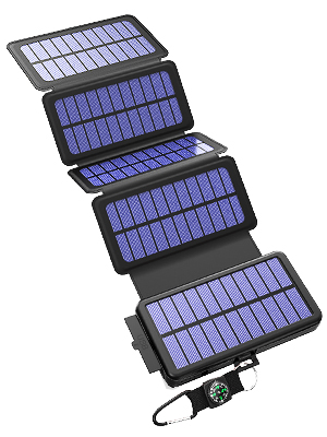 BLAVOR Solar Charger Five Panels Detachable, Qi Wireless Charger 20000mAh Portable Power Bank with Dual Output Type C Input Flashlight and Compass Kit ...