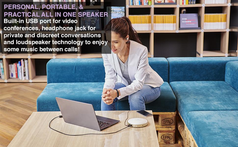 PERSONAL PORTABLE ALL-IN-ONE SPEAKER USB video-conferences headphone-jack loudspeaker music calls